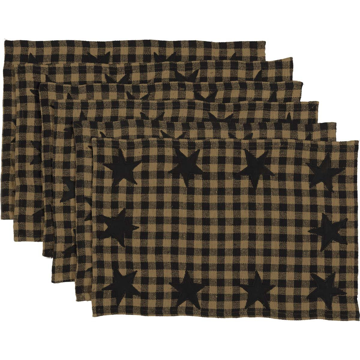 VHC Brands Classic Country Primitive Tabletop & Kitchen - Star Placemat Set of 6 Black