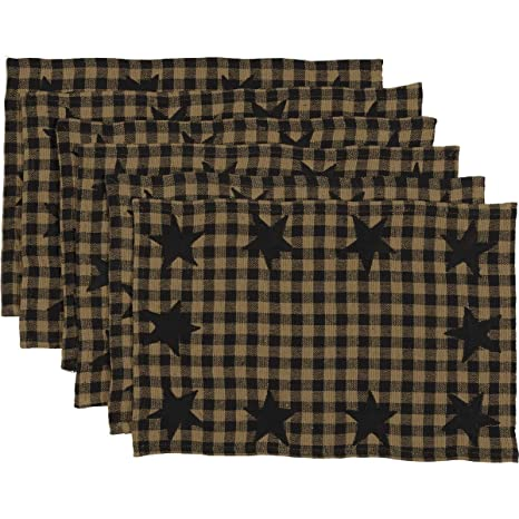 VHC Brands Classic Country Primitive Tabletop & Kitchen - Star Placemat Set  of 6, Black