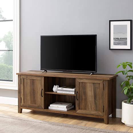 Walker Edison Buren Classic Grooved Door Tv Stand For Tvs Up To 65 Inches 58 Inch Reclaimed Barnwood Furniture Decor