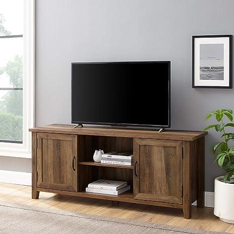 Walker Edison Buren Classic Grooved Door Tv Stand For Tvs Up To 65 Inches 58 Inch Reclaimed Barnwood Furniture Decor