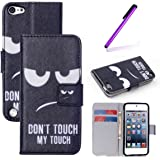 iPod Touch 5 Case,iPod Touch 6 Case.EMAXELERS Synthetic PU Leather Wallet Magnet Design Flip Stand Case Cover for Apple iPod Touch 5 6th Generation + Send 1 Stylus Pen Angry face