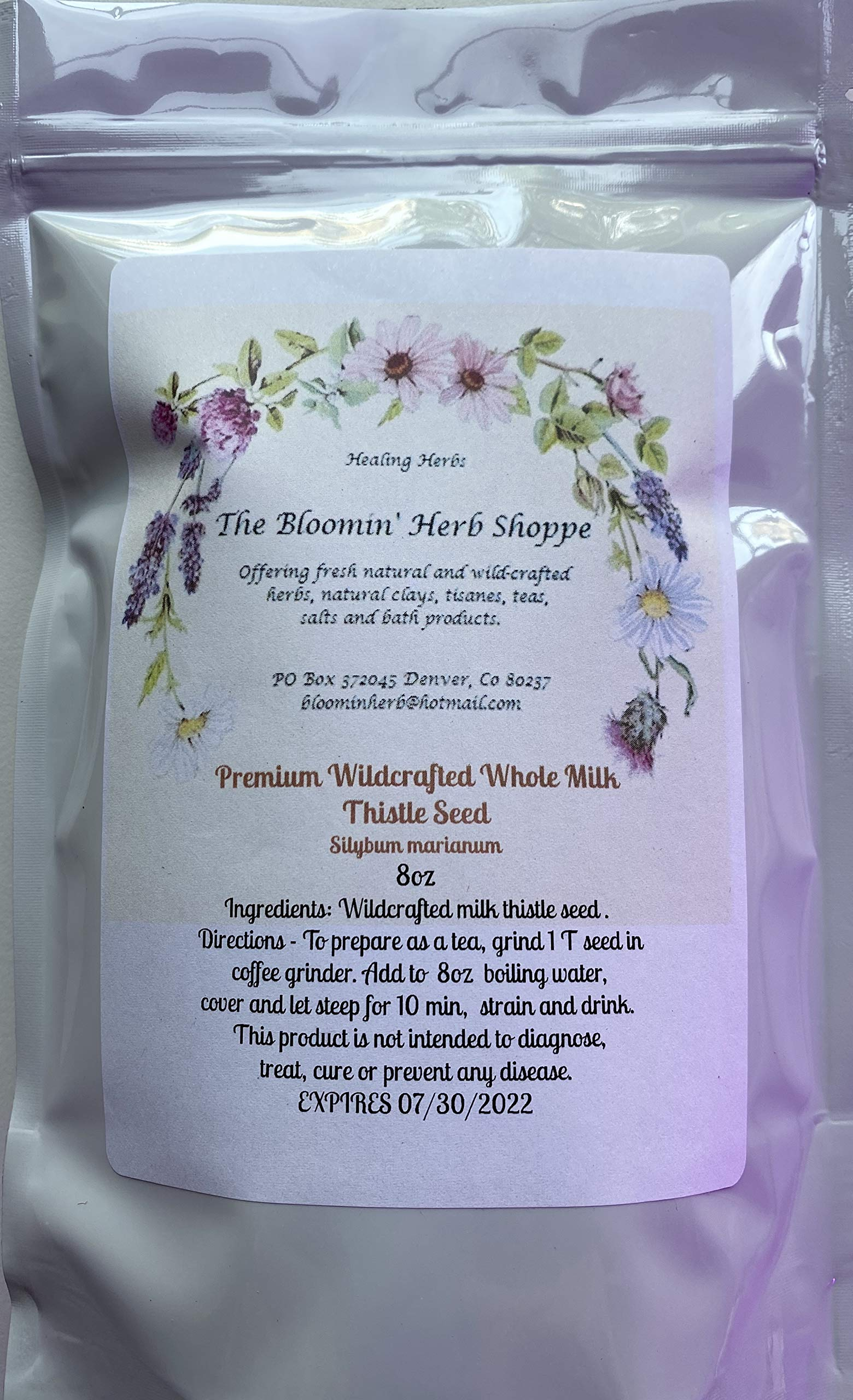 Wildcrafted Raw Milk Thistle Seed Whole 8oz Silybum Marianum Non GMO Non irradiated | The Bloomin Herb Shoppe | Pure Aromatic Potent Hand Packed