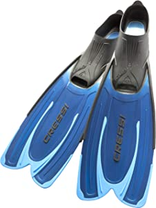 Cressi Adult Snorkeling Fins with Self-Adjustable Comfortable Full Foot Pocket   Perfect for Traveling   Agua: made in Italy
