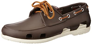 4ba5f10ae9 Crocs Beach Line Men's Boat Shoes - Espresso/Stucco, 7 UK (41-