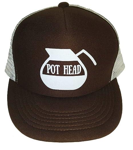 5a5c26012d144 Amazon.com  Pot Head Brown Java Weed Coffee Mesh Trucker Hat Cap ...