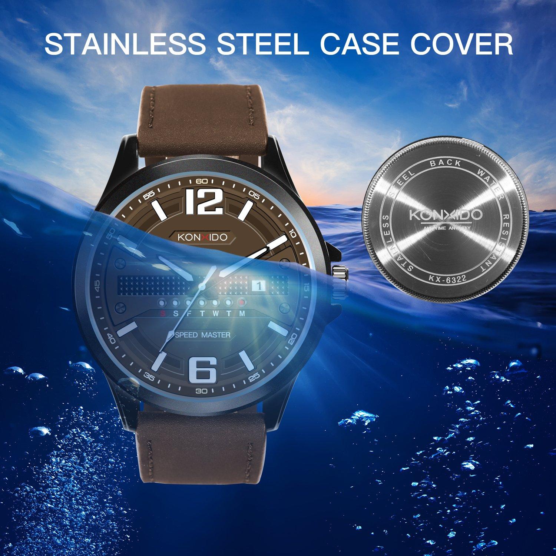 KONXIDO Men's Business Quartz Watch, Casual Fashion Analog Wrist watch Classic Date and Week Window, Waterproof 30M Water Resistant Comfortable Genuine Leather Strap Watches Coffee by KONXIDO (Image #2)