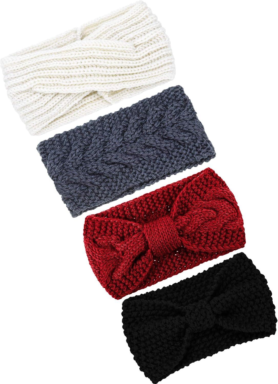 TecUnite 4 Pieces Chunky Knit Headbands Winter Braided Headband Ear Warmer Crochet Head Wraps for Women Girls (Color set 6)