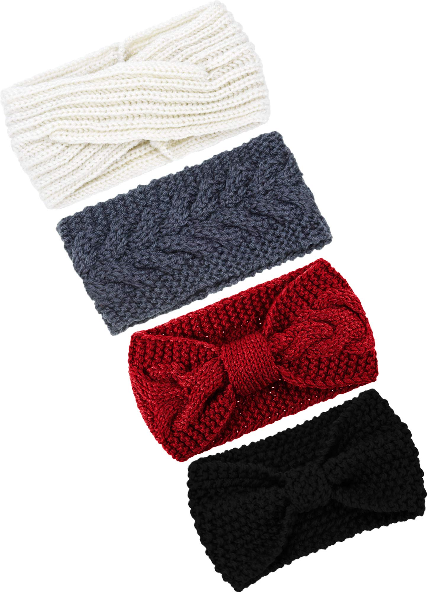 TecUnite 4 Pieces Chunky Knit Headbands Winter Braided Headband Ear Warmer Crochet Head Wraps for Women Girls (Color set 6)
