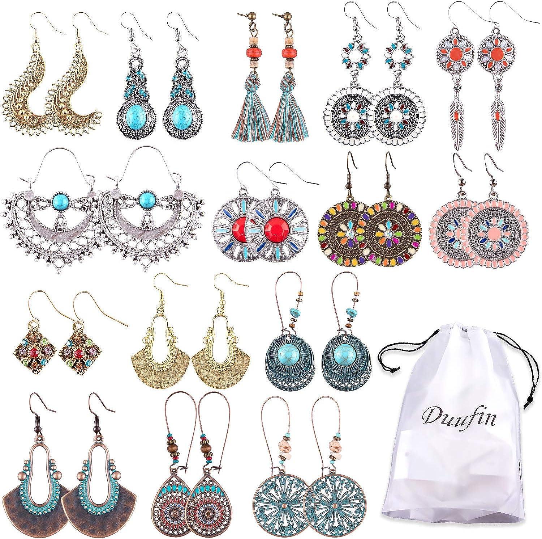 Duufin 15 Pairs Boho Earrings Vintage Bohemian Earrings Drop Dangle Earring Statement Earring Set with a Box for Women and Girls