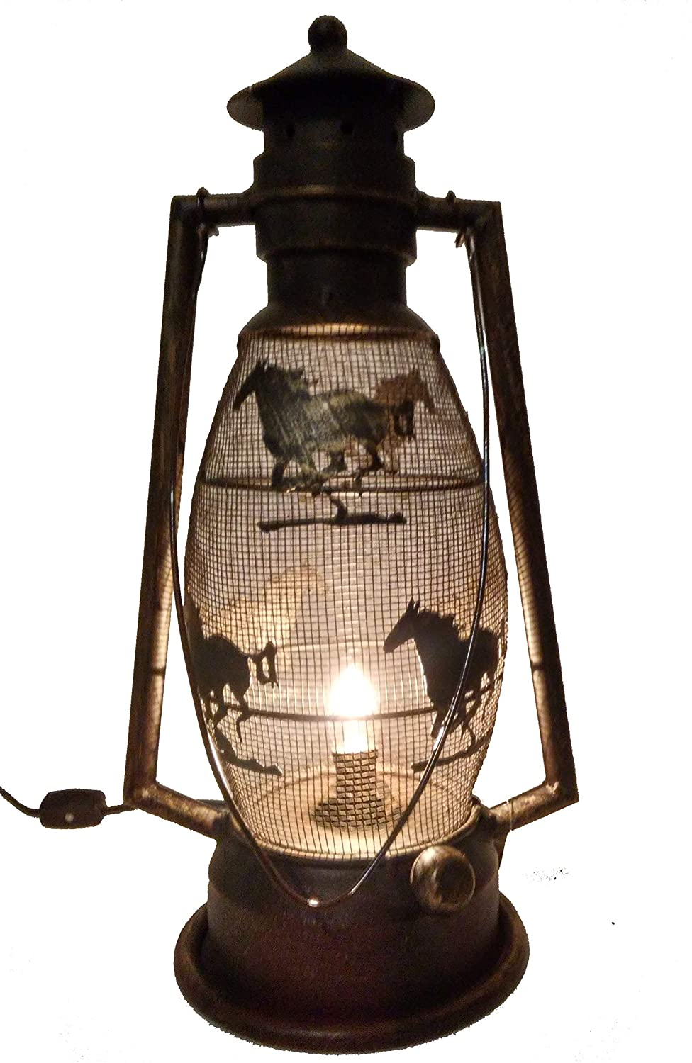 Brown//Bronze 15 Tall 8 Wide S.Star Horse Metal Electric Lantern