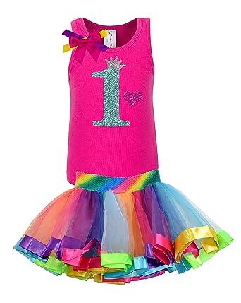 6cd9200b9 Amazon.com  Bubblegum Divas Baby Girls  1st Birthday Rainbow Tutu ...