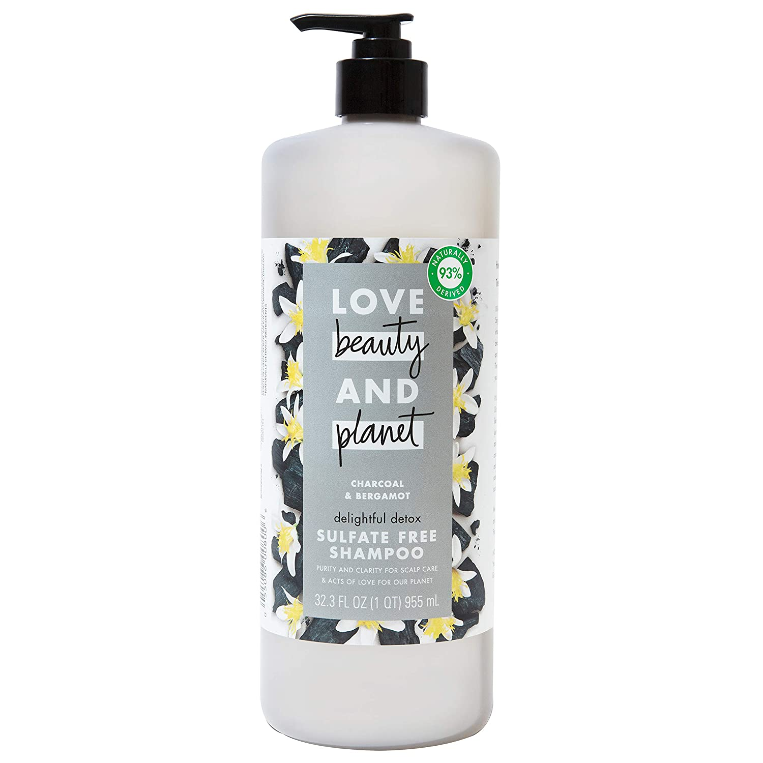 Love Beauty And Planet Delightful Detox Daily Clarifying Sulfate-Free Shampoo Cleansed Hair Care Charcoal and Bergamot Silicone-free, Paraben-free, Vegan Shampoo 32.3 oz