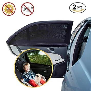 2x Sonnenschutz-Rollo für Seitenfenster schwarz Sonnenblende Auto Kinder Baby