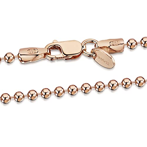 b22325363 Amazon.com: Amberta 14K Rose Gold Plated on 925 Sterling Silver 2 mm Ball  Chain Necklace Length 18