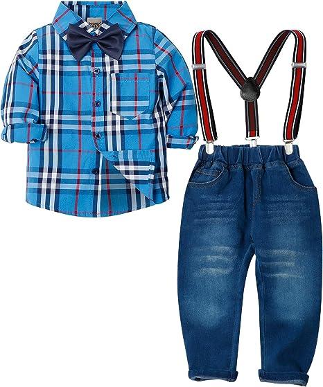 Zoerea Abbigliamento Set per Bambino Ragazzo Camicie a Quadri Manica Lungo  + Pantaloni + Bretelle + Papillon Bambini 4 Pezzo Set Vestiti per Formale  ... f7d7ab98bcc
