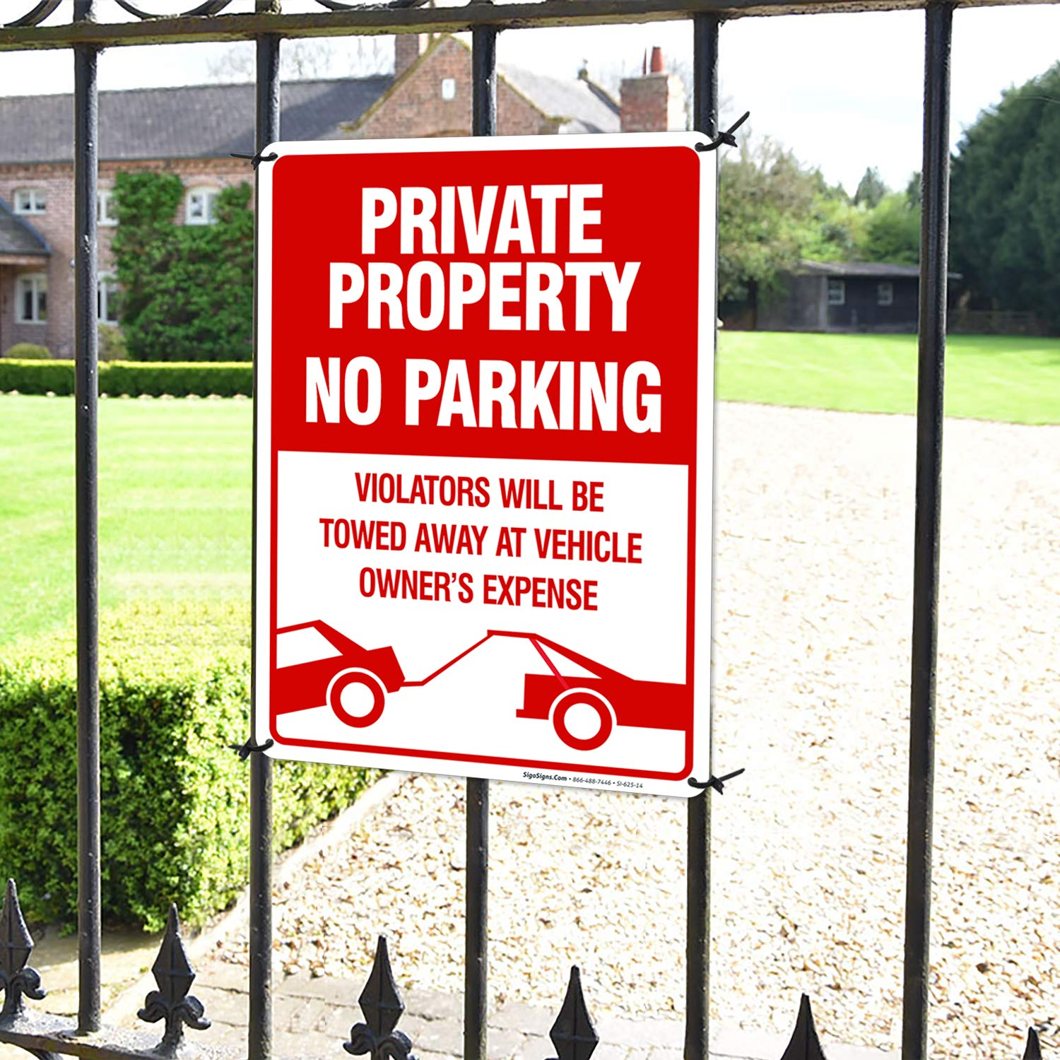 No Parking Sign Private Property Sign Violators Will Be Towed Sign, 10x14 Rust Free Aluminum, Weather/Fade Resistant, Easy Mounting
