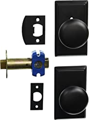 Providence Door Set With Round Brass Knobs Privacy In Matte Black. Doorsets.