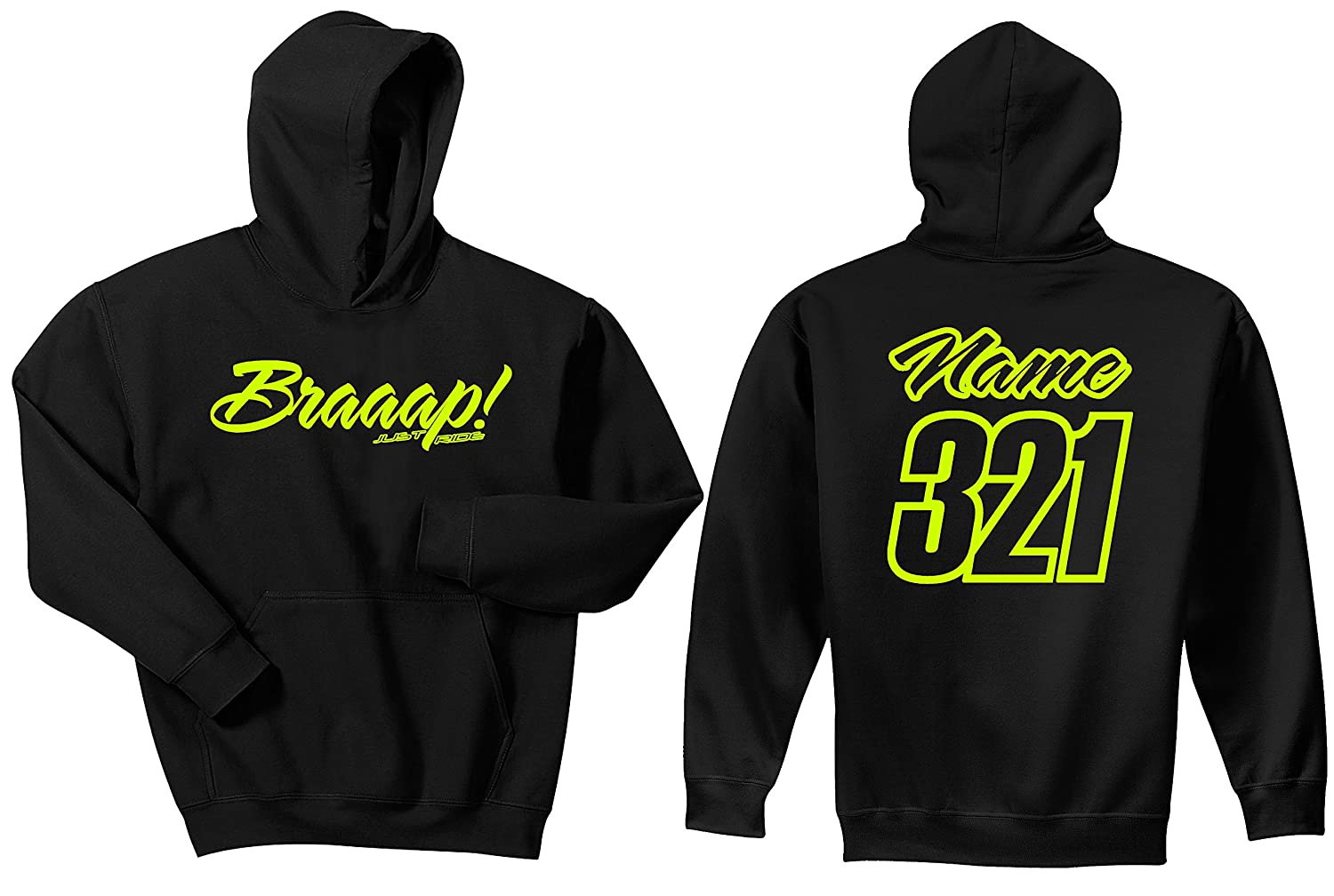 JUST RIDE Braaap Youth Hoodie Sweat Shirt Motocross Number Plate Custom Personalized