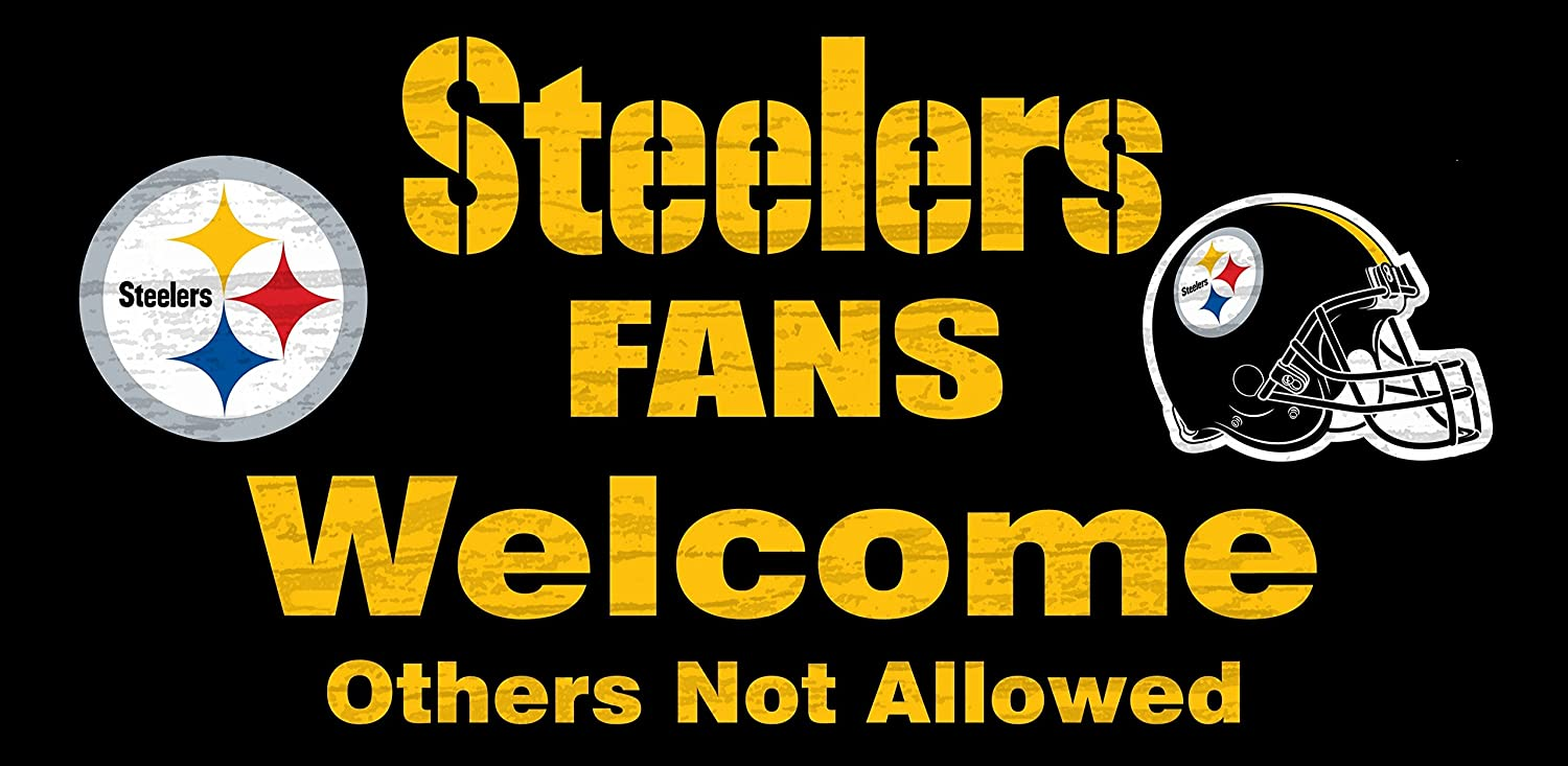 Amazon.com : Pittsburgh Steelers Wood Sign - Fans Welcome 12x6 ...