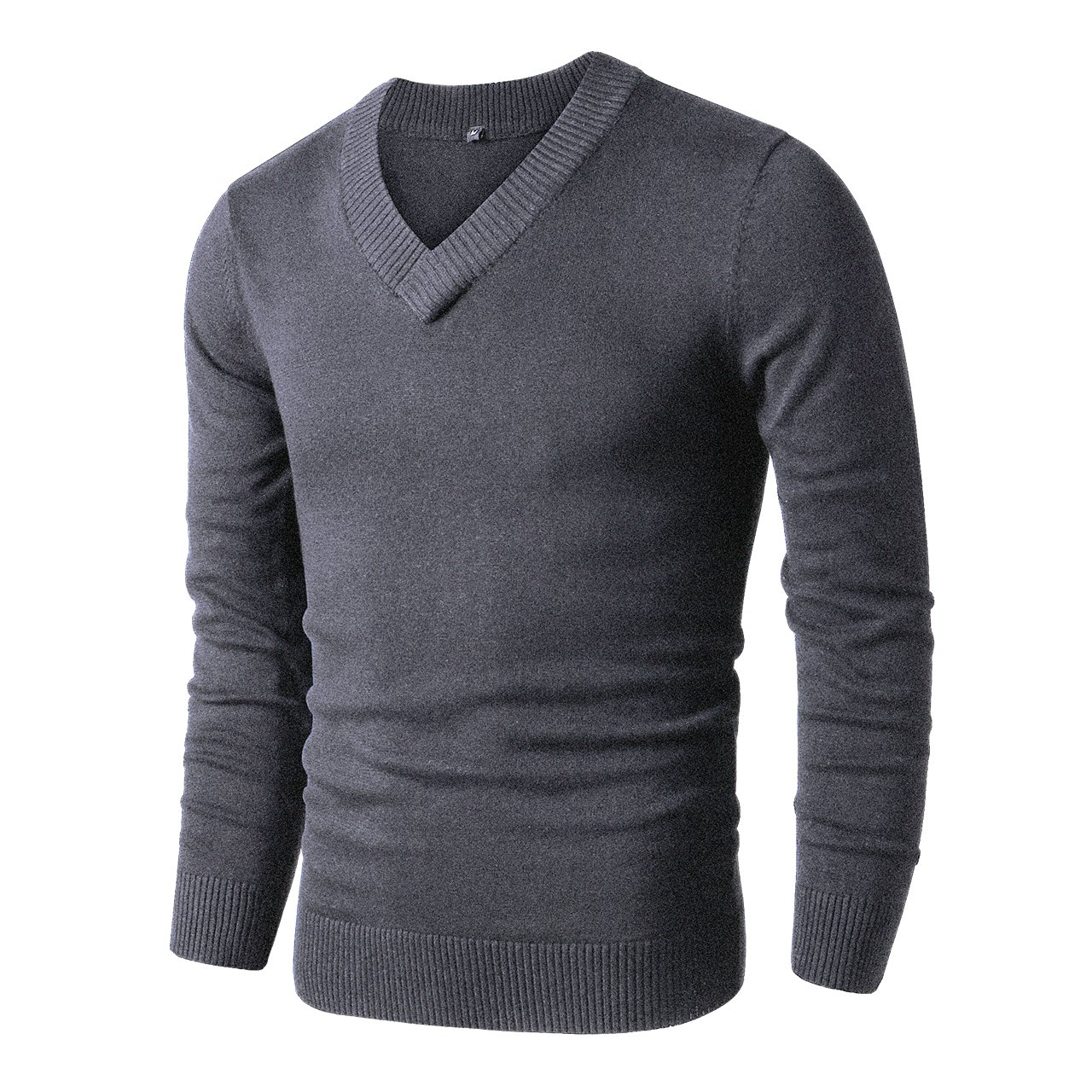 LTIFONE Mens Slim Comfortably Knitted Long Sleeve V-Neck Sweaters (L,Dark Grey) by LTIFONE