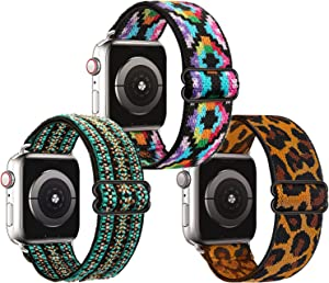 Adjustable Elastic Band Compatible with Apple Watch Bands 38mm 40mm 42mm 44mm Braided Nylon Solo Loop Strap Women Men Sport Band For iWatch Series 6/5/4/3/2/1 SE