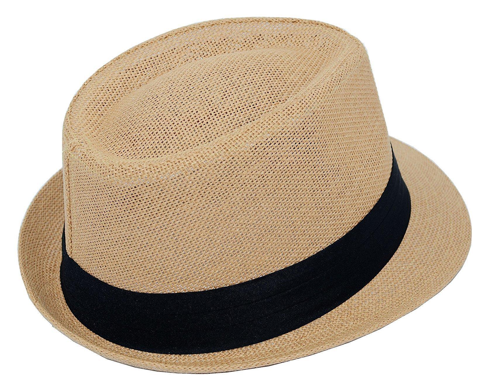 Good Quality Summer Beachside Straw Fedoras-Khaki-S/M