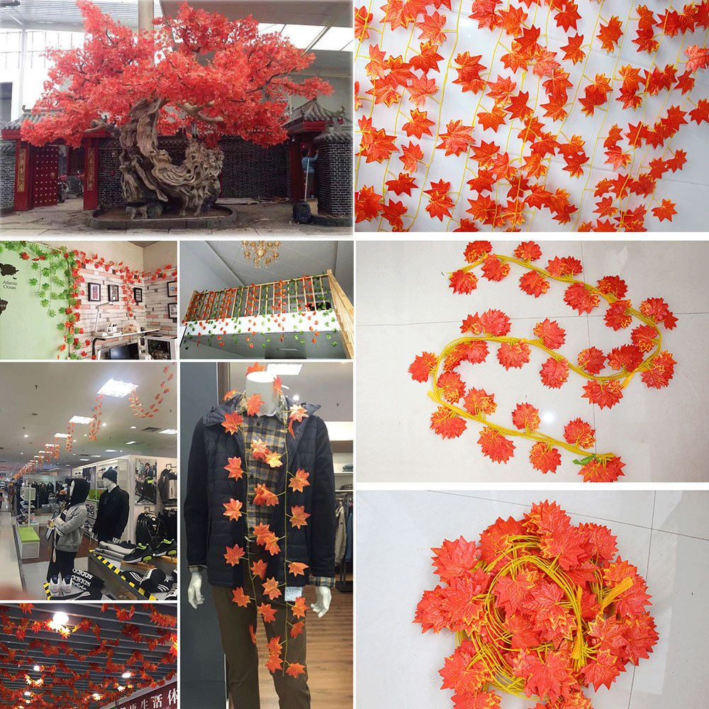 YEJI 12pcs 88 Inch Artificial Ivy Red Maple Leaf Leaves Garland Plants Vine Fake Foliage Flower Home Garden Decorations or decorating home, hotel, wedding, party, garden, fences, etc. by YEJI (Image #3)
