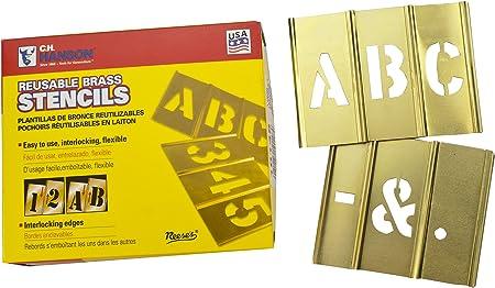 Deezio Brass Stencils Letters and Numbers 2 Inch Interlocking Letter Stencils 46 Piece Set