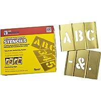 C.H. Hanson 10031 Brass Interlocking Stencil Letter Set, 33 pieces, 2 inch