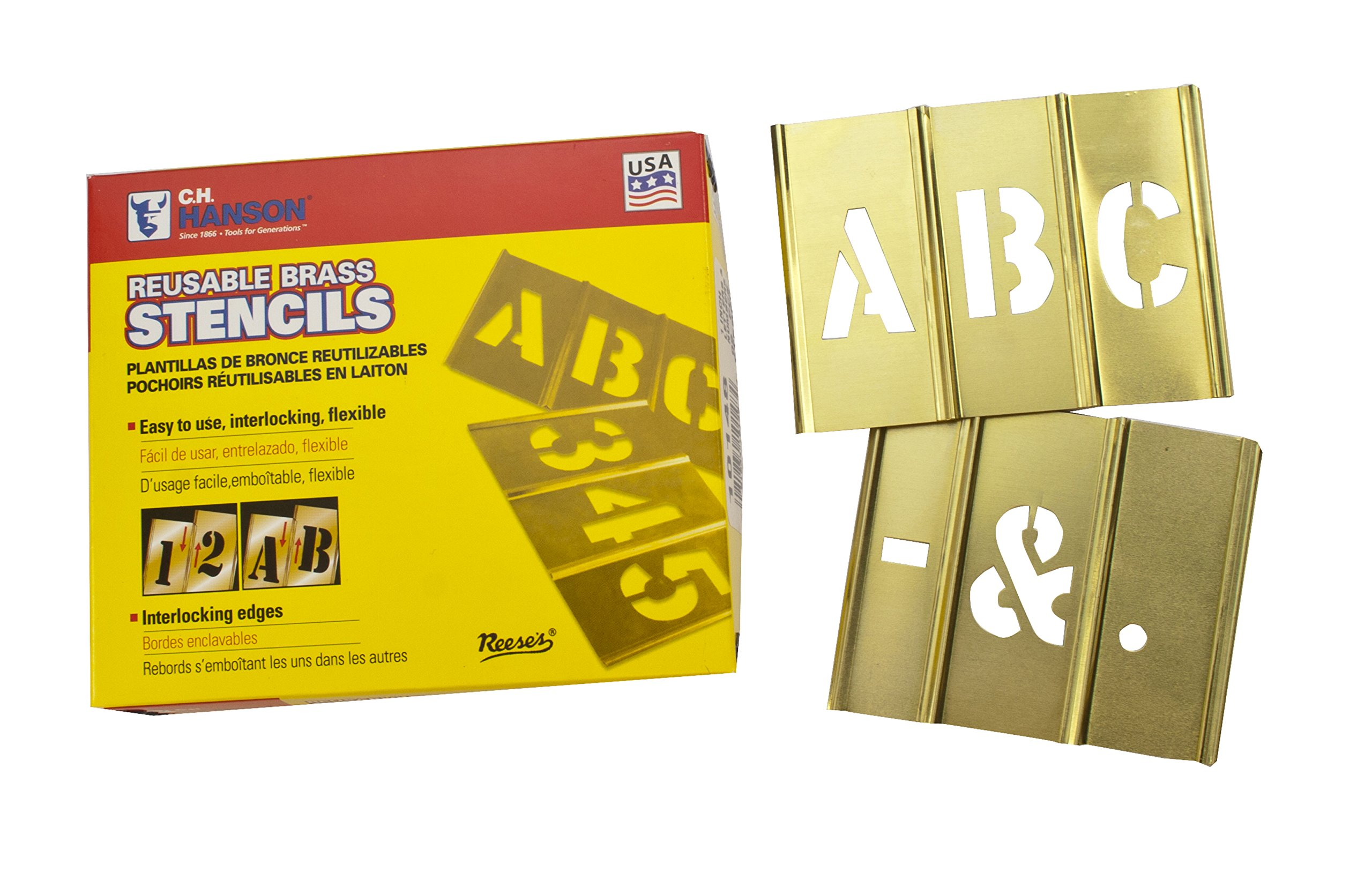CH Hanson 10031 2 in Brass Letter 33 Piece Interlocking Stencil Set