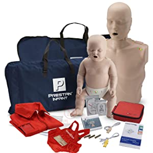 Adult and Infant CPR Manikin Kit with Feedback, WNL Practi-Trainer Essentials AED, and MCR Accessories