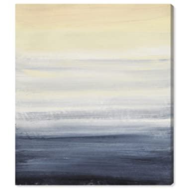 Modern Abstract Blue and Tan Ocean Print Wall Art on Canvas, 24  x 28