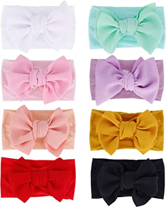 inSowni 8 Pack Big Bow Super Stretchy Nylon Headbands Turban Headwraps Hair Accessories for Baby Girls Toddlers Infants Kids