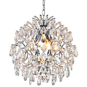 Modern Pendant Chandelier Crystal Raindrop Lighting Ceiling Light Fixture Lamp for Dining Room Bathroom Bedroom Livingroom 3 E12 Bulbs Required D16 in x H18 in