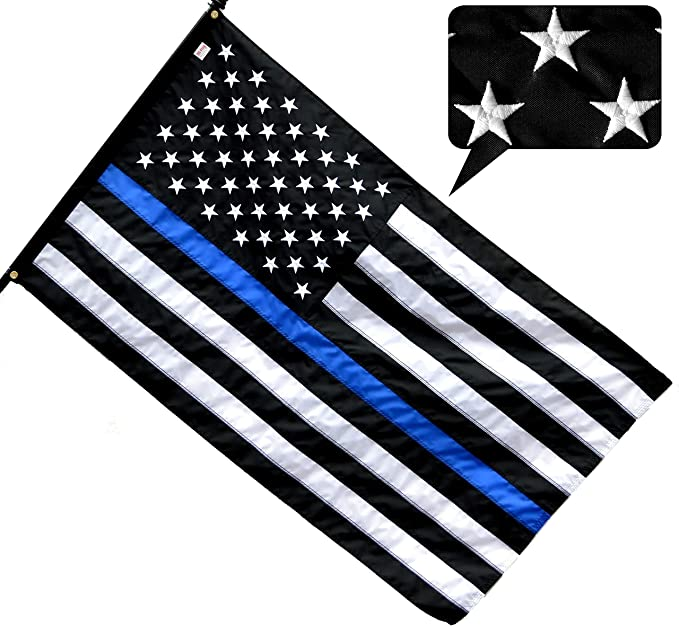 US Thin Blue Line Betsy Ross 1776 Back The Blue 100D Woven Poly Nylon 3/'x5/' Flag