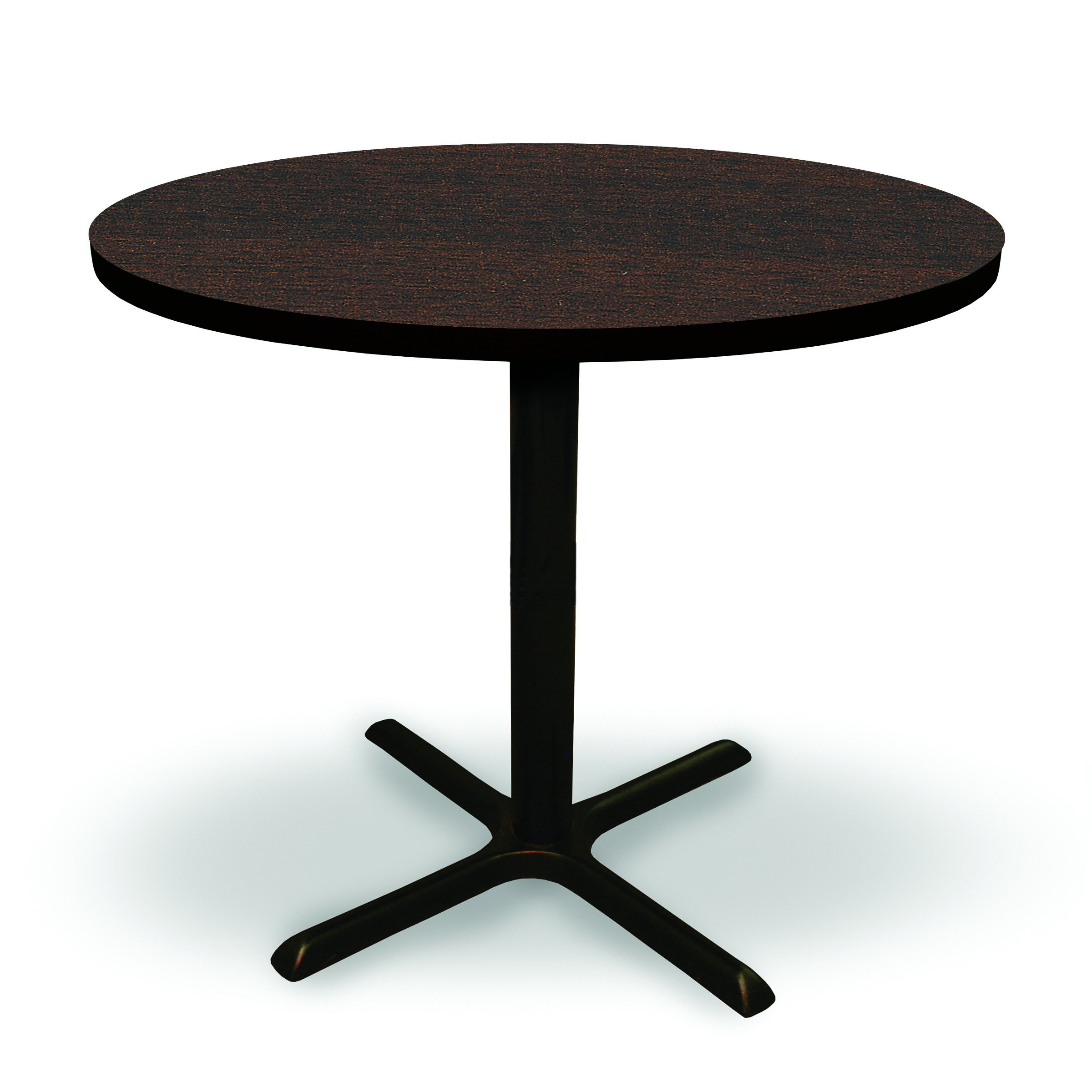 36'' Round Conference, Break Room, Multipurpose Table (42'' Tall Café Height) - Columbia Walnut Laminate/ Black Finish