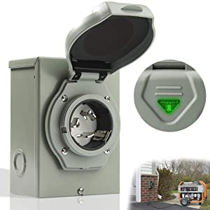 Latest 50 Amp Generator Power Inlet Box, NEMA 3R Generator Receptacle 50 Amp, NEMA SS 2-50P PB50 Weatherproof Inlet Box, 125/250 Volt,12500 Watts Generator Transfer Switch, ETL Listed