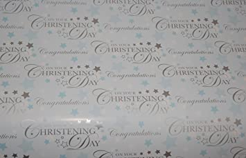 2 Sheets Gift Wrapping Paper NEW BABY BOY Blue Congratulations