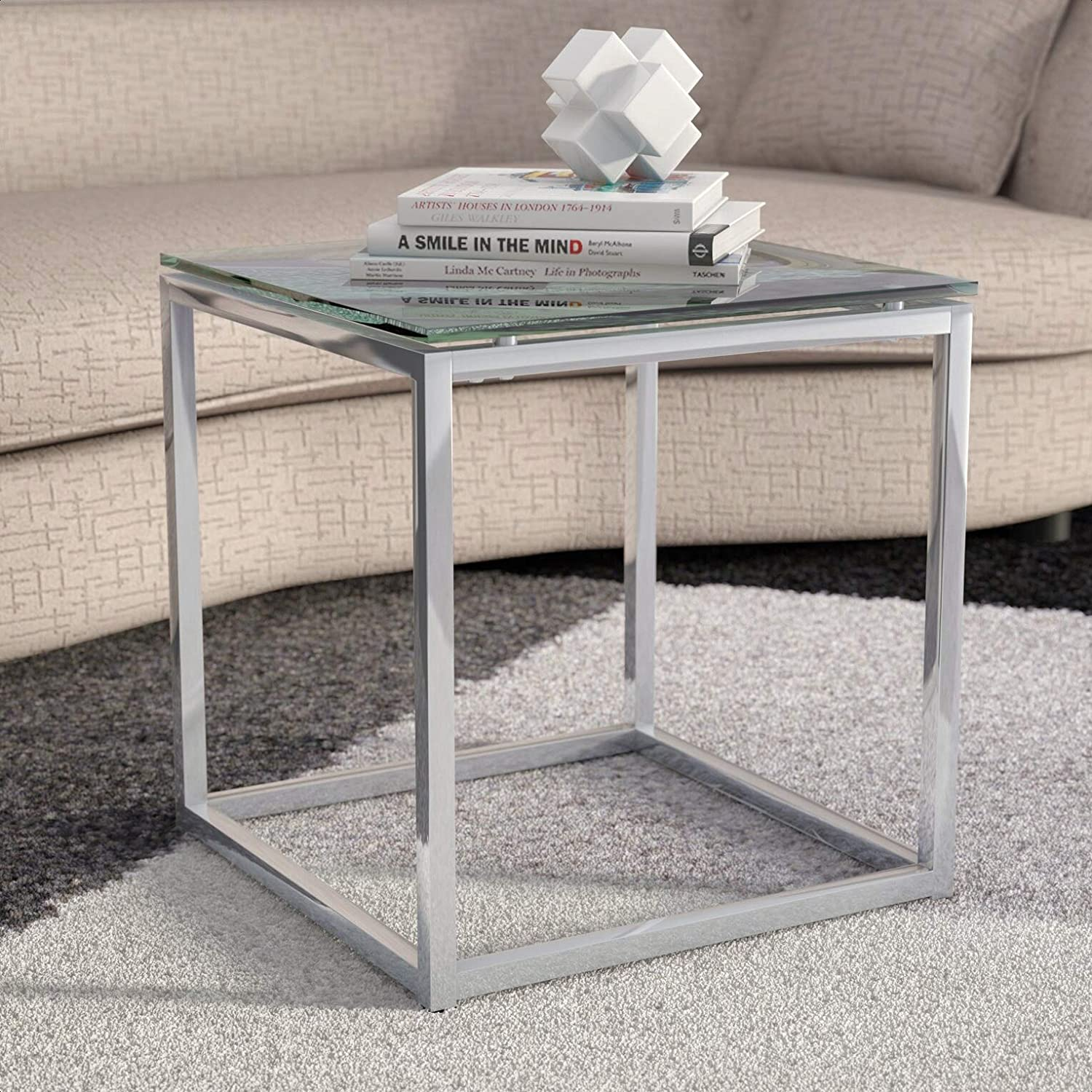 Bellewood End Table Integrated Wireless Charging Surface No Top Material Glass Kitchen Dining