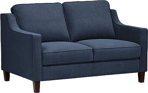 Stone Beam Blaine Modern Loveseat Sofa – 55.9 Inch, Navy Blue