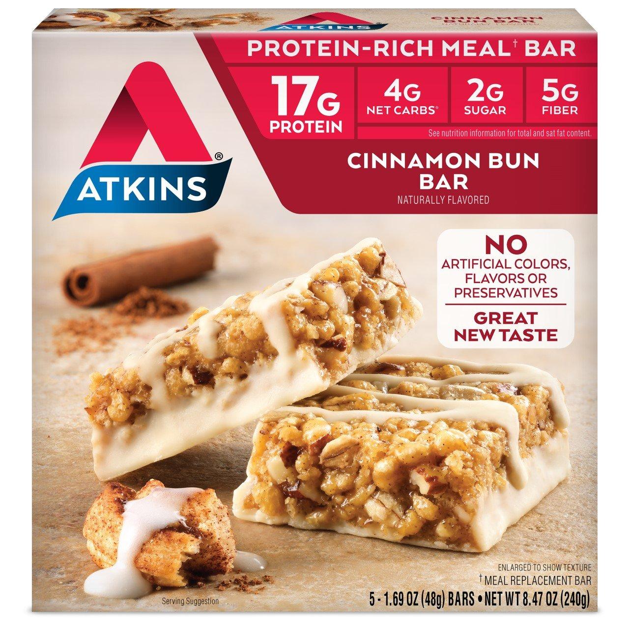 Atkins Meal Bars, Cinnamon Bun, 17g Protein, 2g Sugar, 4g Net Carbs, 8.5-Ounce, 5-Bars (Pack of 6)  (Packaging may vary)