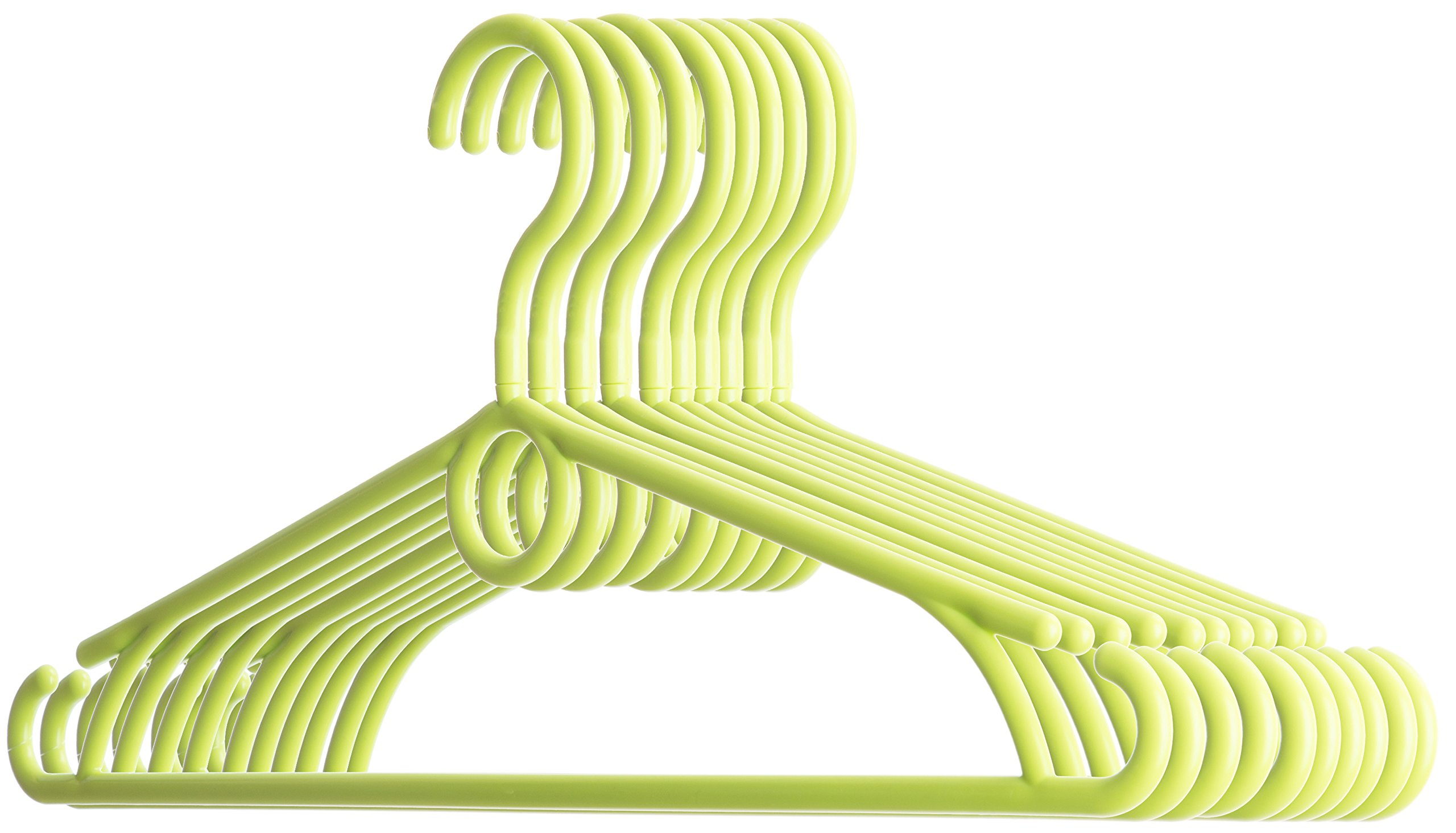 Dream-home Children Plastic Clothes Hangers - 360°Swivel Hook - Strong & Durable - Space Saving - Perfect for Shirts Pants Suits Dresses - Ideal for Household - Made in EU - Set of 20 - LIME