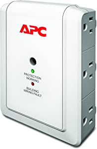 APC Wall Outlet Multi Plug Extender, P6WT, (6) AC Multi Plug Outlet, 1080 Joule Surge Protector with Telephone Protection Ports