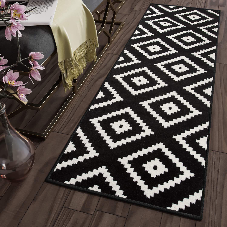 Tapiso MAROKO Läufer Teppich Teppich Teppich Brücke Flur Modern Geometrisch Marokkanisch Karo Diamant Muster Schwarz Creme ÖKOTEX 70 x 600 cm B07KC8QZYW Lufer 623ec8