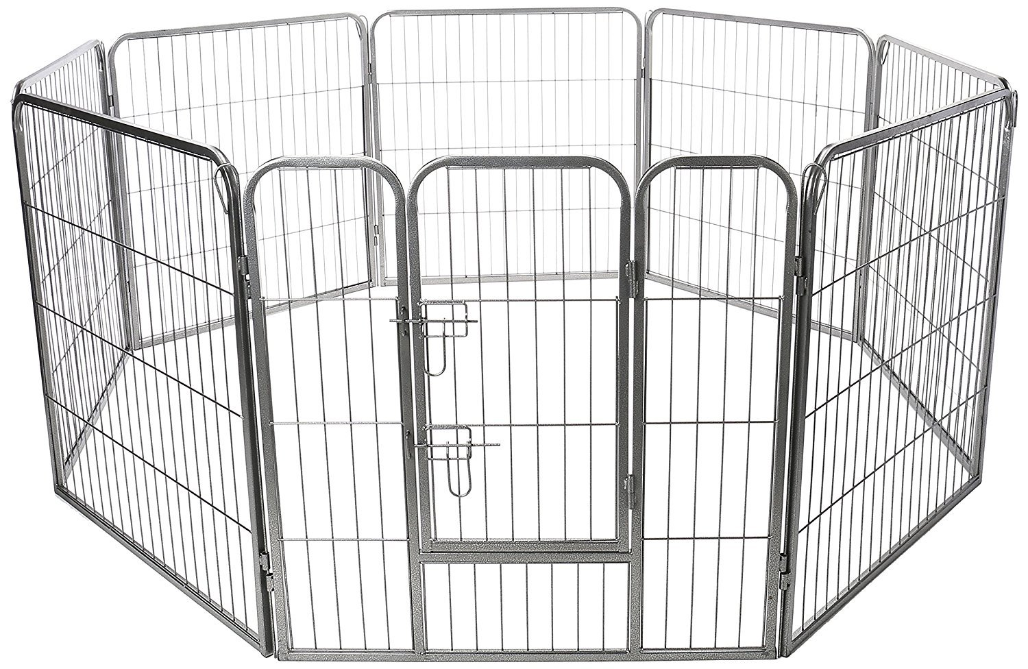 Paws and Pals Pet Exercise Pen Tube Gate w/ Door - (8 Panel Playpen) Heavy Duty Folding Metal Out-Door Fence - 24'' Playpen