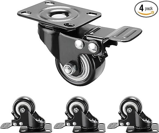 "24 LOT 2.5/"" Heavy Duty Caster Wheels Polyurethane Top Plate Swivel ALL BLACK"