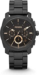 Fossil Machine Men's Black Dial Stainless Steel Band Chronograph Watch - Fs4682, Analog Display
