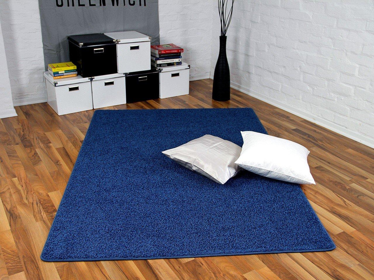 Teppich Hochflor Shaggy Cottage Blau in 24 Größen