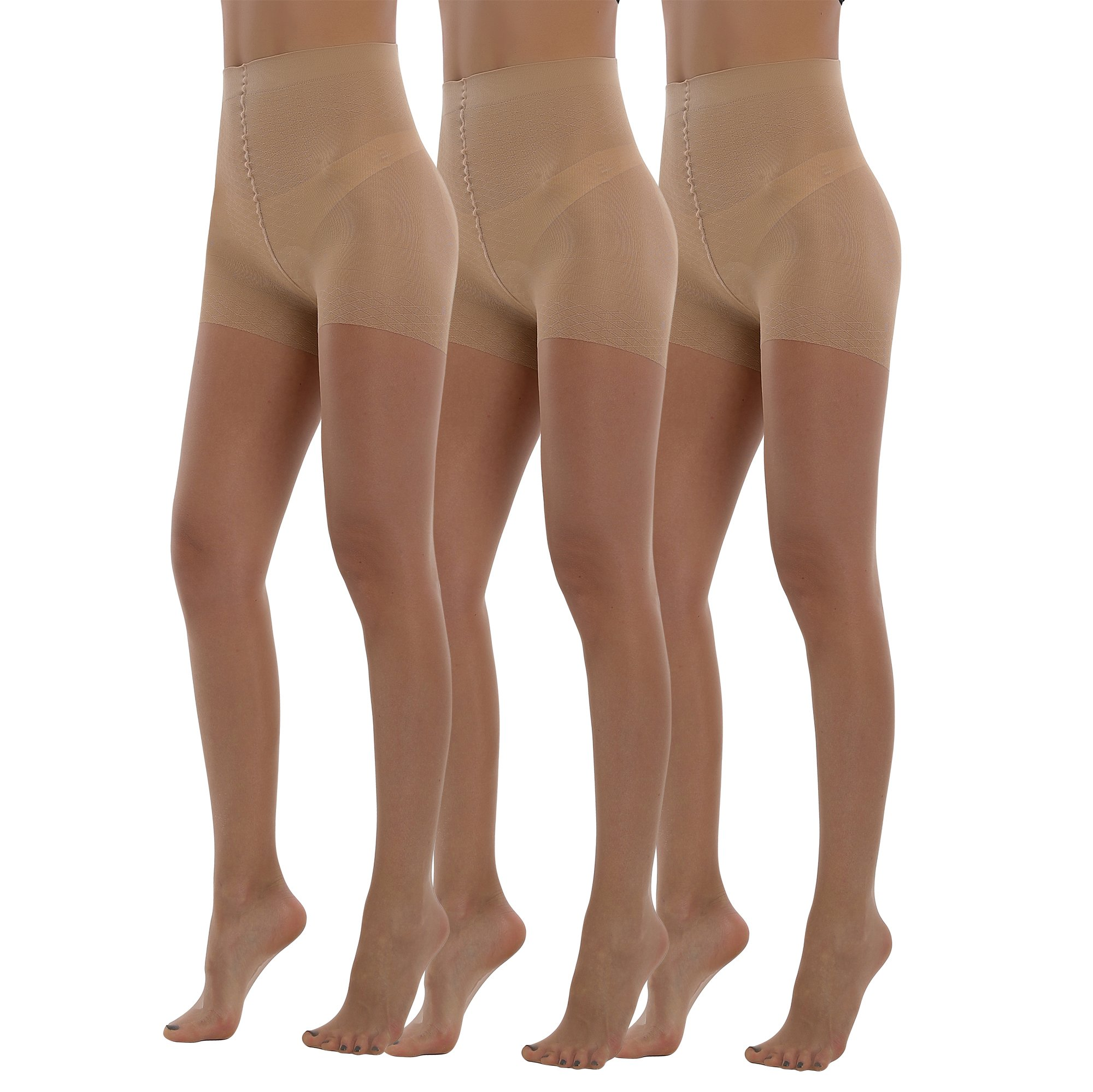 BONAS Bodyshaper Pantyhose 3Pack High Waisted Shock Up Silky Stockings Control Top Tights