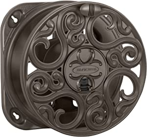 Suncast Sidewinder Side Scroll Hose Reel - Fully Assembled Decorative Wall Mount with Removable Reel for Garden Hoses - 60' Vinyl Hose Capacity - Bronze